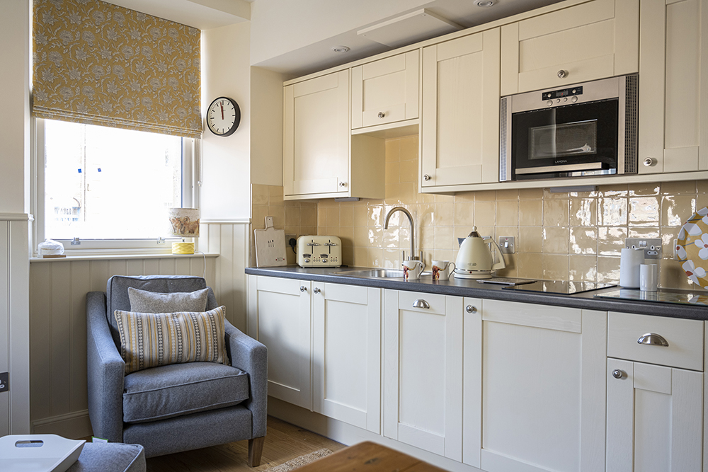 The kitchen area in our Croft House apartment, Art House Inverness