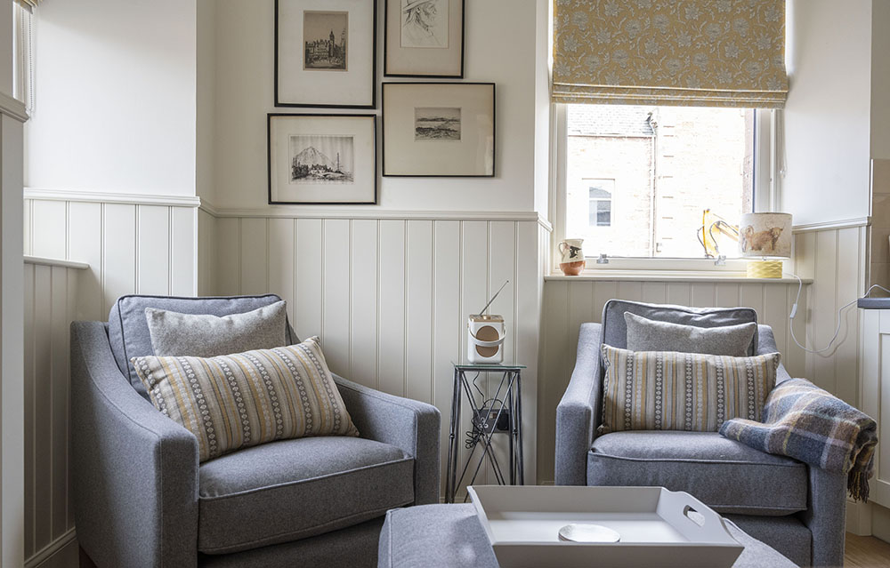 Comfortable and cosy seating in our Croft House Serviced Apartment in Inverness