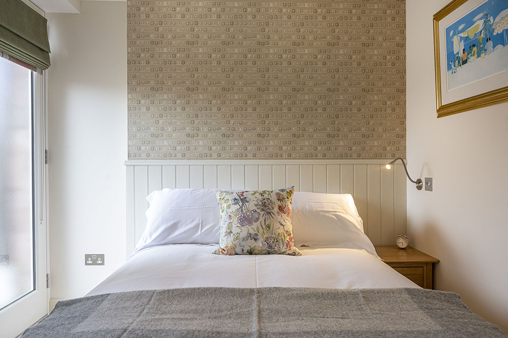 The Courtyard Apartment bedroom, serviced accessible accommodation in Inverness