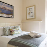 The king sized bedroom at our Loch Ness serviced apartment in Inverness
