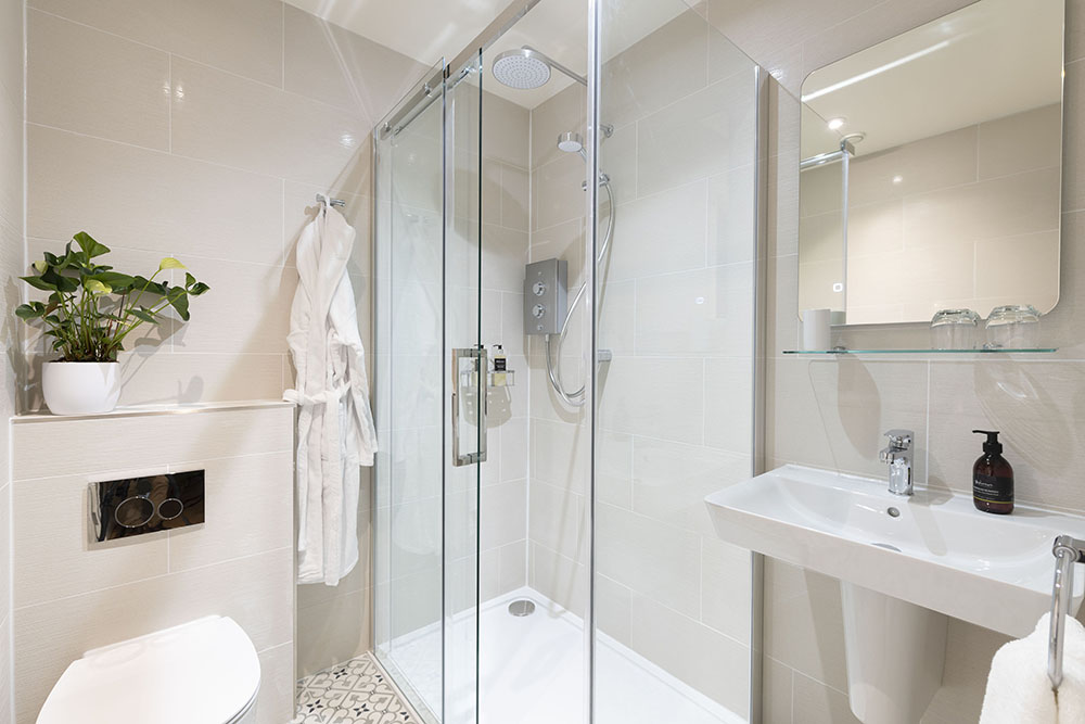 Stylish shower room in our Loch Ness Serviced Apartment