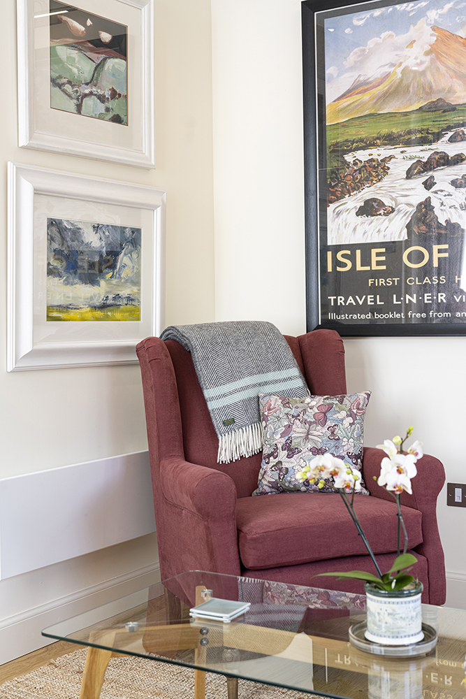 Arm Chair in our Isle of Skye Serviced Apartment, Art House Inverness