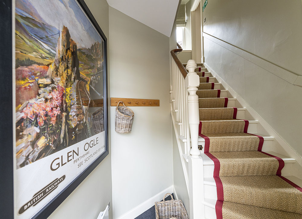 The stairway in Tree House serviced apartment, Inverness