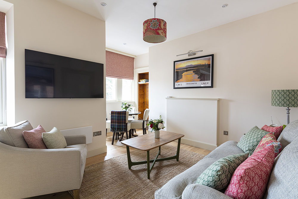 The living area in our Tree House Apartment, Art House Apartments Inverness