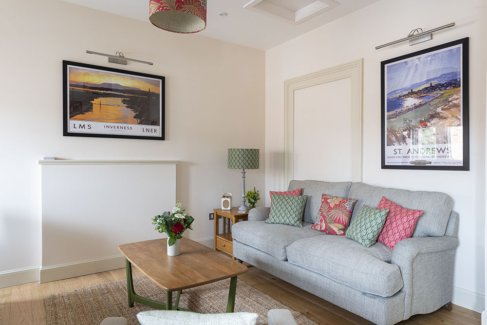 The living room in our Tree House apartment, Art House Serviced Accommodation Inverness