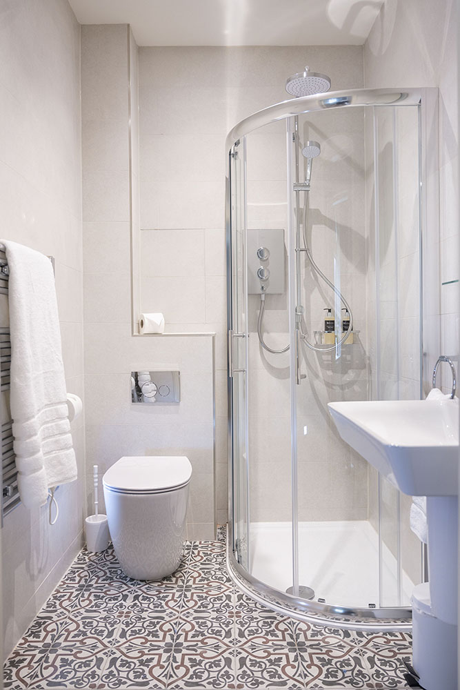 The shower room in our Tree House Serviced Apartment, Art House Apartments Inverness