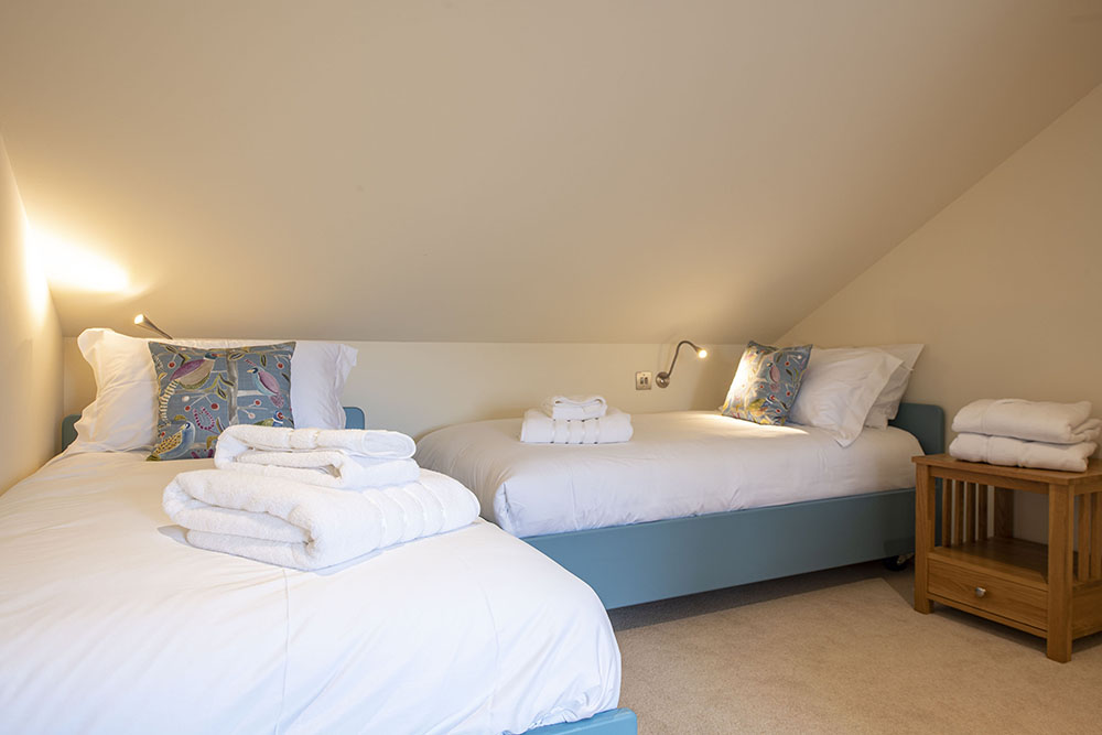 Twin bedroom in our Tree House Serviced Apartment, Art House Inverness