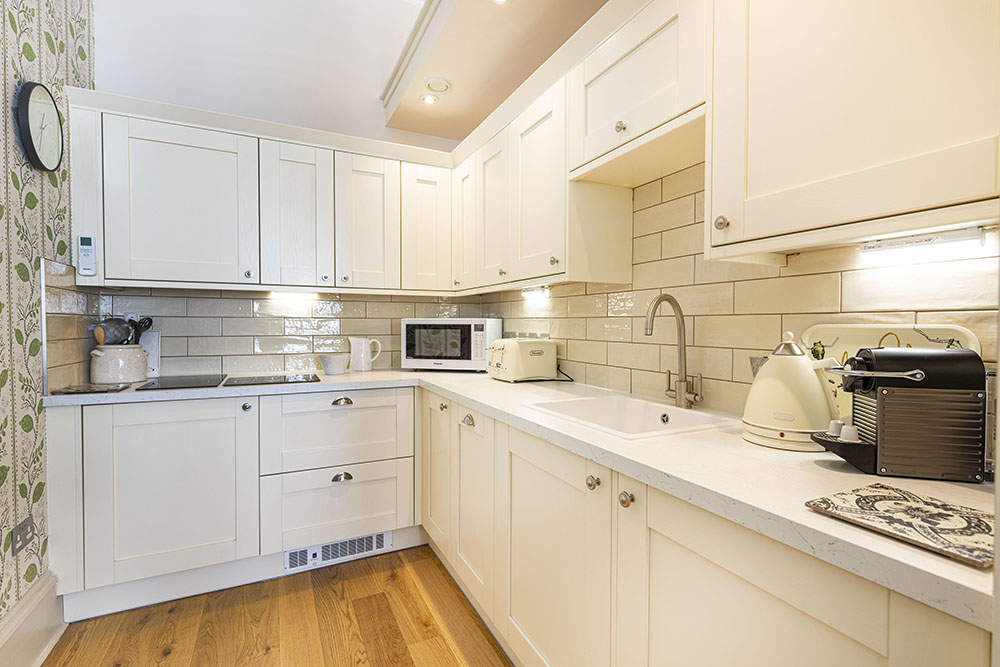 Kitchen area in our But n' Ben serviced apartment in Inverness