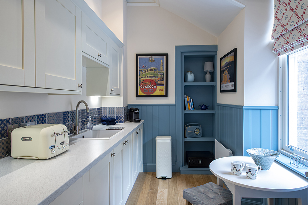 The kitchen in our Loch Ness, 1 bedroom serviced apartment in Inverness